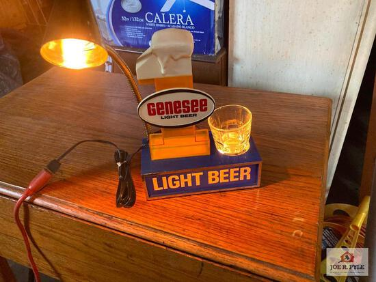 Vintage lighted Genesee Light Beer bar display