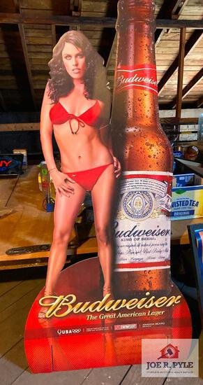 2008 Budweiser Girl double sided advertising cardboard stand up