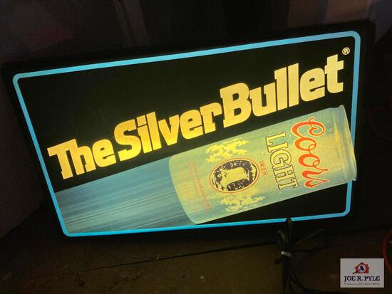 Vintage lighted The Silver Bullet Coors Light bar sign