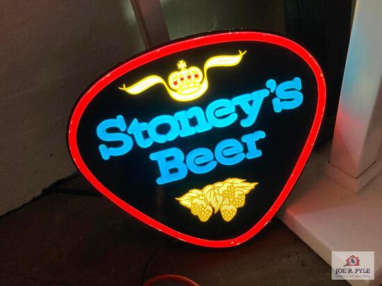 Vintage lighted Stoney's Beer bar sign