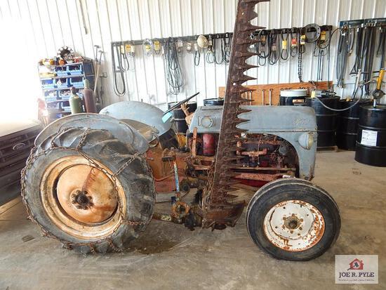 8N Ford farm tractor, side mower