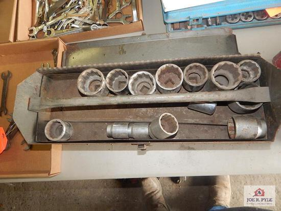Tool box and contents w/ large sockets