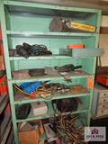 Metal shelf and contents to include jump pack, grinder, hand tools, etc.