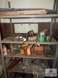 Metal shelving and contents to include welding rods, etc.