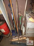 Lot of hand tools to include brooms, shovels, etc.
