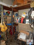 Contents of shelf - electrical wires, hard hats and liquids