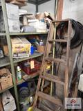 Contents of shelf to include chain, wire, ladder, etc.