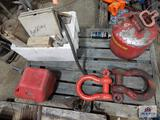 Lot of gas cans and 2 large cleaves