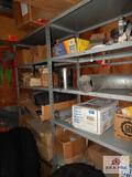 2 Shelves of large truck parts, filters, cat U-joint bolts