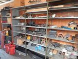 Contents of 2 shelves - truck parts, leaf spring parts, etc.