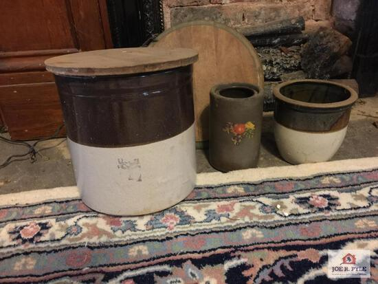 Wax sealer, 2 wooden lids and 2 Tan and brown stoneware crocks