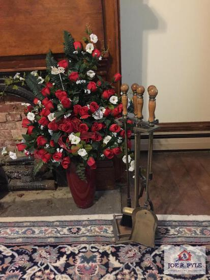 Large decorator silk rose arrangement and fireplace tools