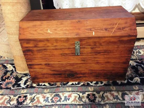 Vintage handmade child's dome top wood chest