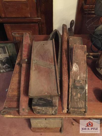 Primitives: slaw cutter, horse hame, wood planter, etc.