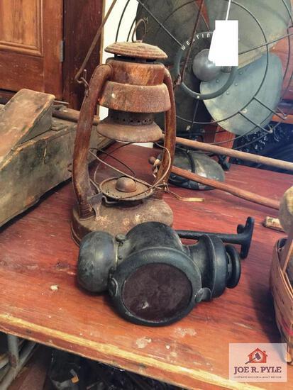 Antique oil buggy lamp and barn lantern