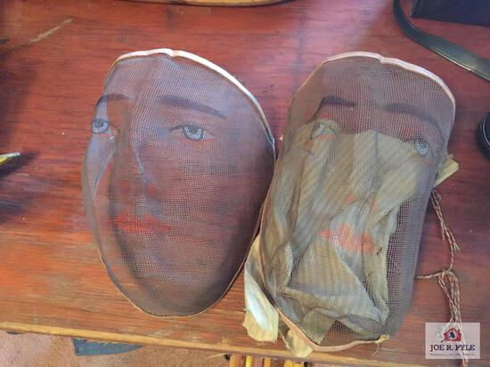 2 antique wire Halloween face masks