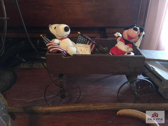 Old doll size wood wagon, sled, and paddle