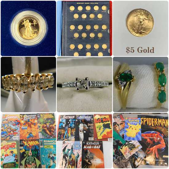 Coins, Jewelry, Comic Books & Sports Collectibles
