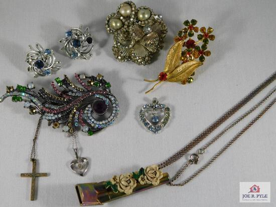 Lot of Misc Brooches, Set of Clip On Earrings, Necklace