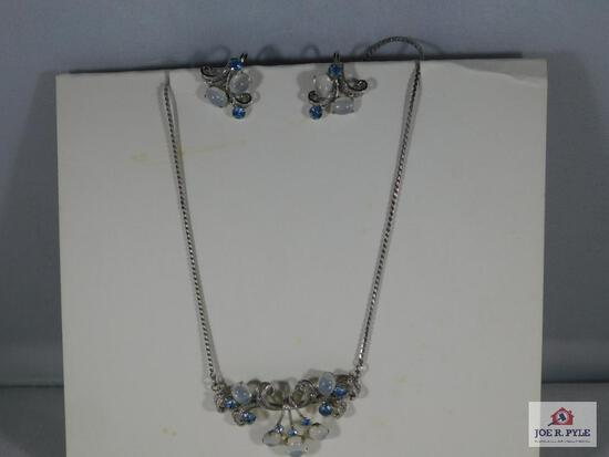 Ladies Matching Necklace & Earring Set, Sterling w/ Blue & Clear Stones