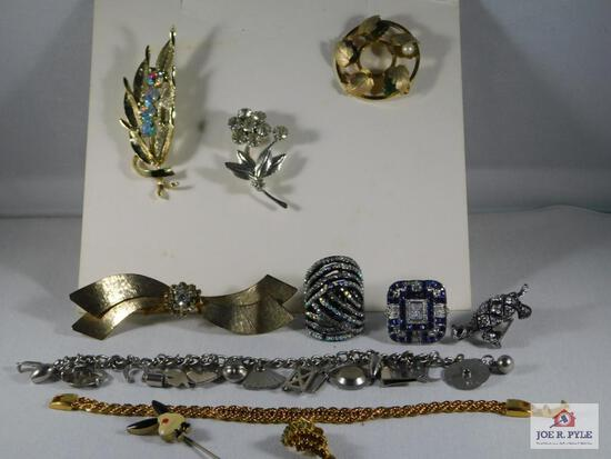 Lot of Misc Costume Jewelry: Brooches, Rings, Pin