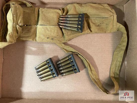 Battle Pack bandoleer containing loaded & empty ammunition