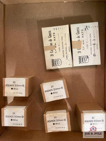 Lot of 7 total boxes of 7.62mm Nato ball ammunition