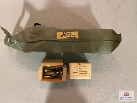 Battle Pack of 6.5mm ammunition that includes loaded cases & empties