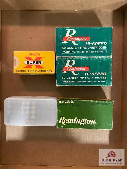 Lot of .218 Bee loaded ammo & empty casings