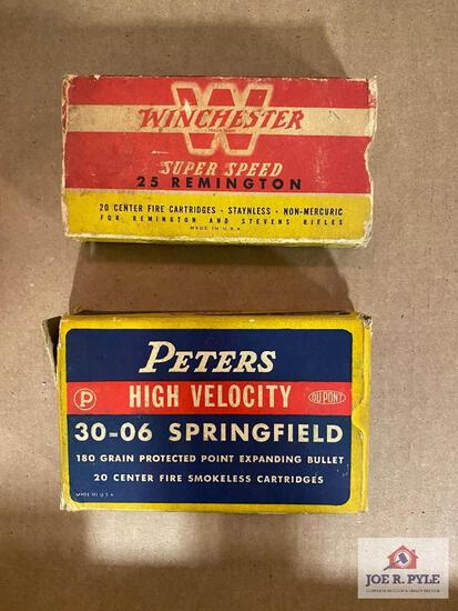 """Lot of 2 """"Classic"""" ammo boxes: (1) .30-06 Peters (2) Winchester .25 Rem"""