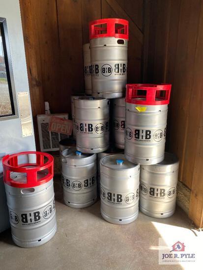 Lot of 19 Barley House Brewing metal kegs