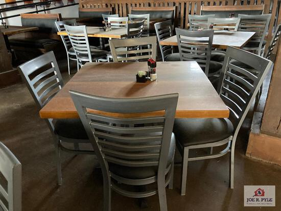 """Two 3"""" wood tables & 8 metal chairs"""