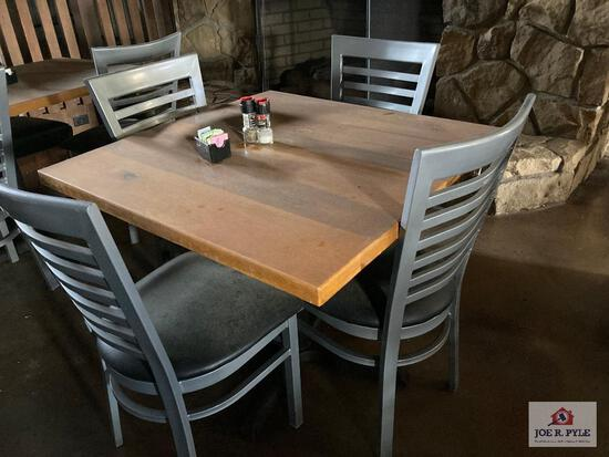 3' wood table, 4' wood table & 8 metal chairs