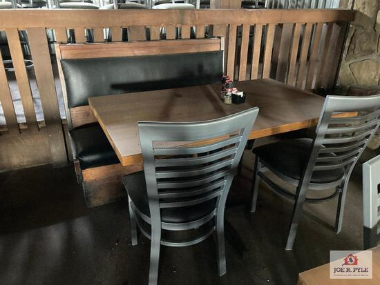 Two 3' wood tables, 4' wood table, 2 bench sections & 4 metal chairs