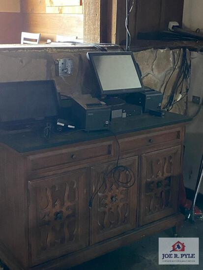 Serving station, Point of Sale kiosk (rest is in bar area), also supplies in bar area cabinet