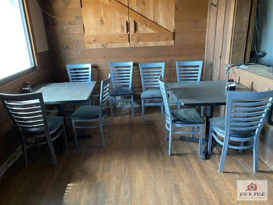 Two 3' wood tables & 8 metal dining chairs