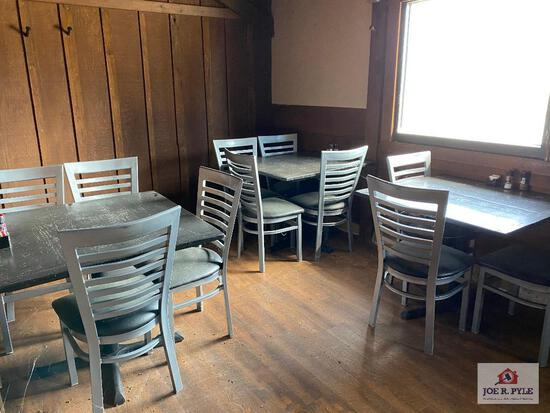 Three 3' wood tables & 11 metal dining chairs