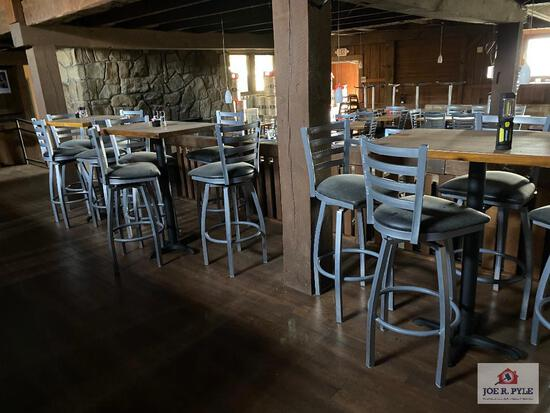 3 high dining table and 12 metal bar stools