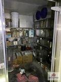 Contents of storage room: metal racks, stainless steel serving pieces, etc