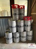 Lot of 16 Barley House Brewing metal kegs