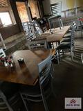 Three 3' wood table & 12 chairs