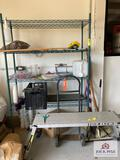 Metal racking, metal hand truck, aluminum folding bench, etc