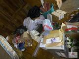 Room lot: building supplies, 4 wood tables, cash register, decorations, vacuum cleaners, etc