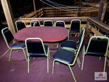 Lot wood table & 11 metal chairs