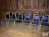 Lot 12 metal chairs & wood table