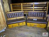 Lot 2 wood padded benches