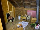 Contents of storage room: chairs, metal cabinet, bar ware,