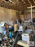 Contents of shed: Barware, glassware, Banquet SS servers, racks, wood table, etc