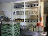 Contents of wall unit: glassware & flatware