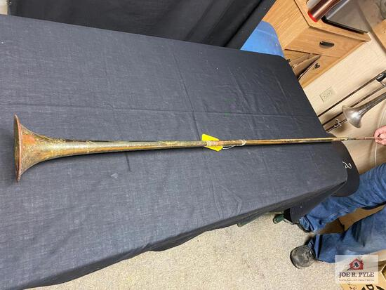 "Bugle made from Trombone & trumdot parts, 58"" long, wall decoration"